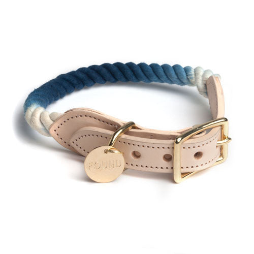 Indigo Ombre Cotton Rope & Leather Collar