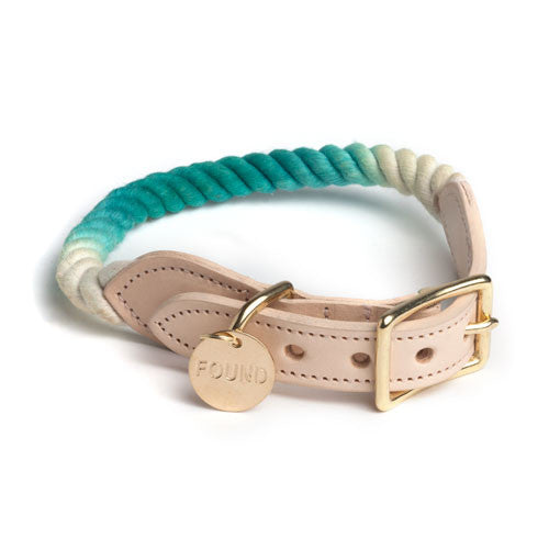 Teal Ombre Cotton Rope & Leather Collar