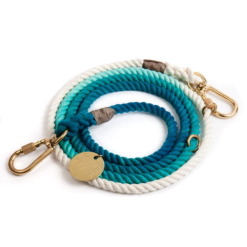 Teal Ombre Adjustable Cotton Rope Leash