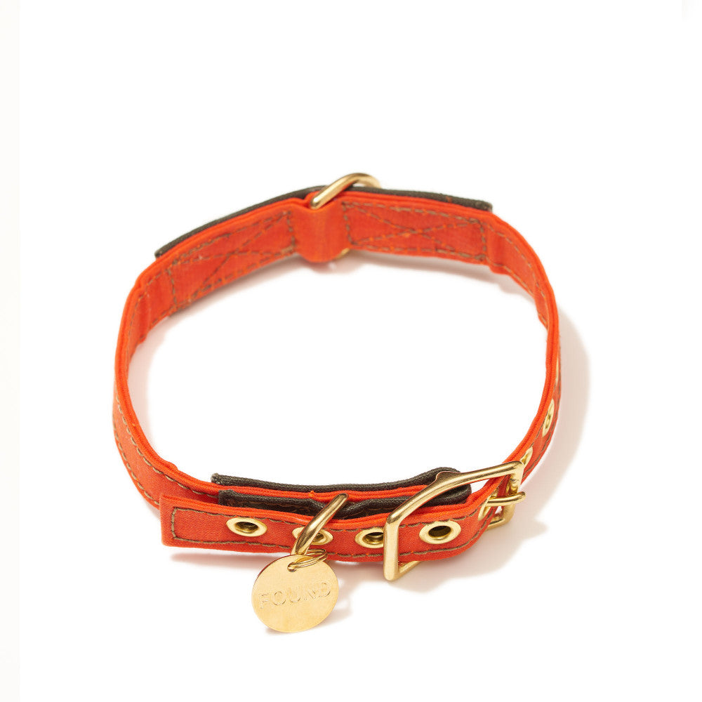 Orange Waxed Cotton Canvas Cat & Dog Collar