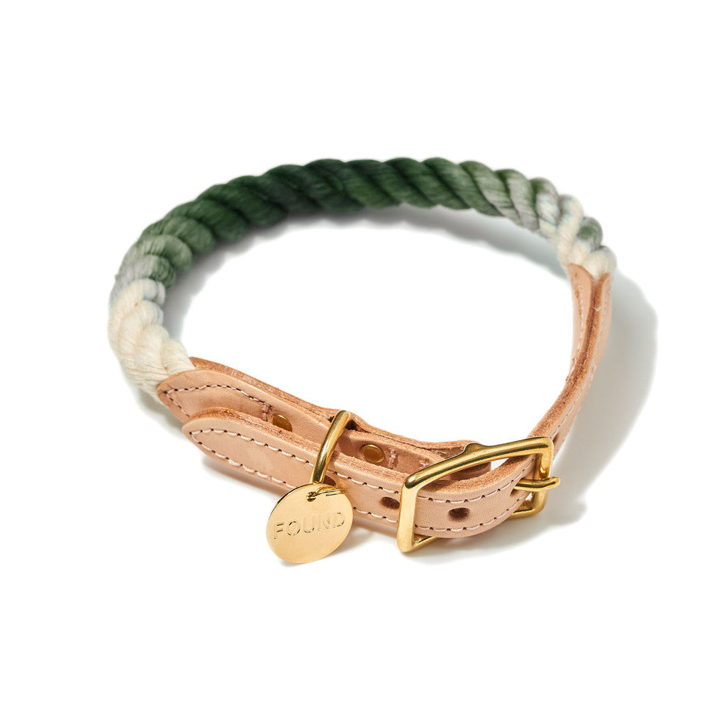 Olive Ombre Cotton Rope & Leather Collar