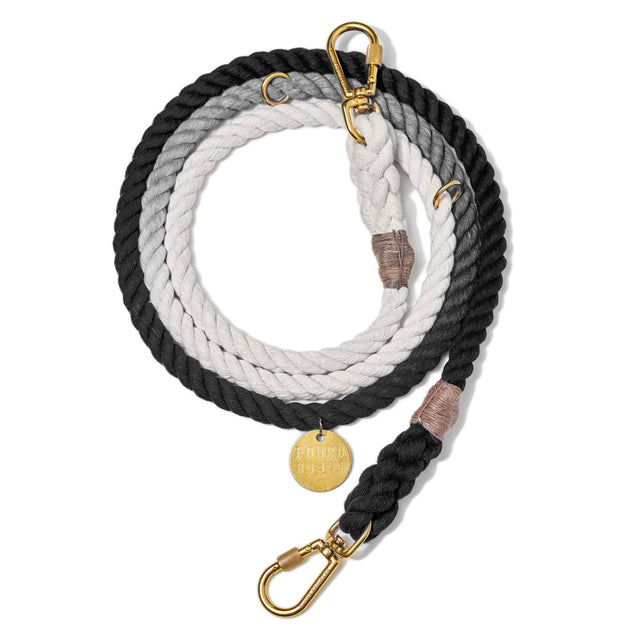 Black Ombre Cotton Adjustable Rope Leash