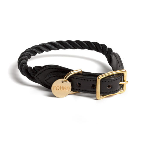 Black Rope & Leather Cat & Dog Collar