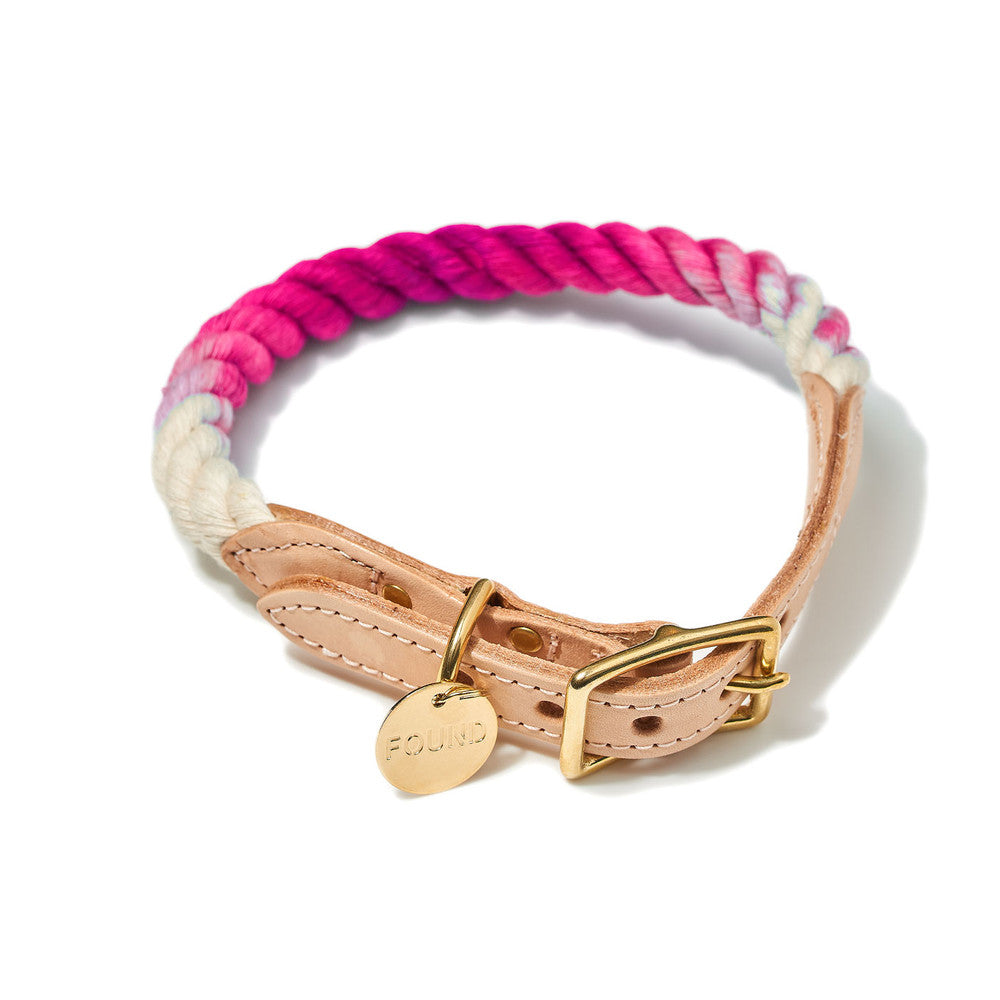 Magenta Ombre Cotton Rope & Leather Collar