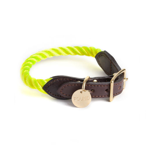 Neon Yellow Rope & Leather Cat & Dog Collar