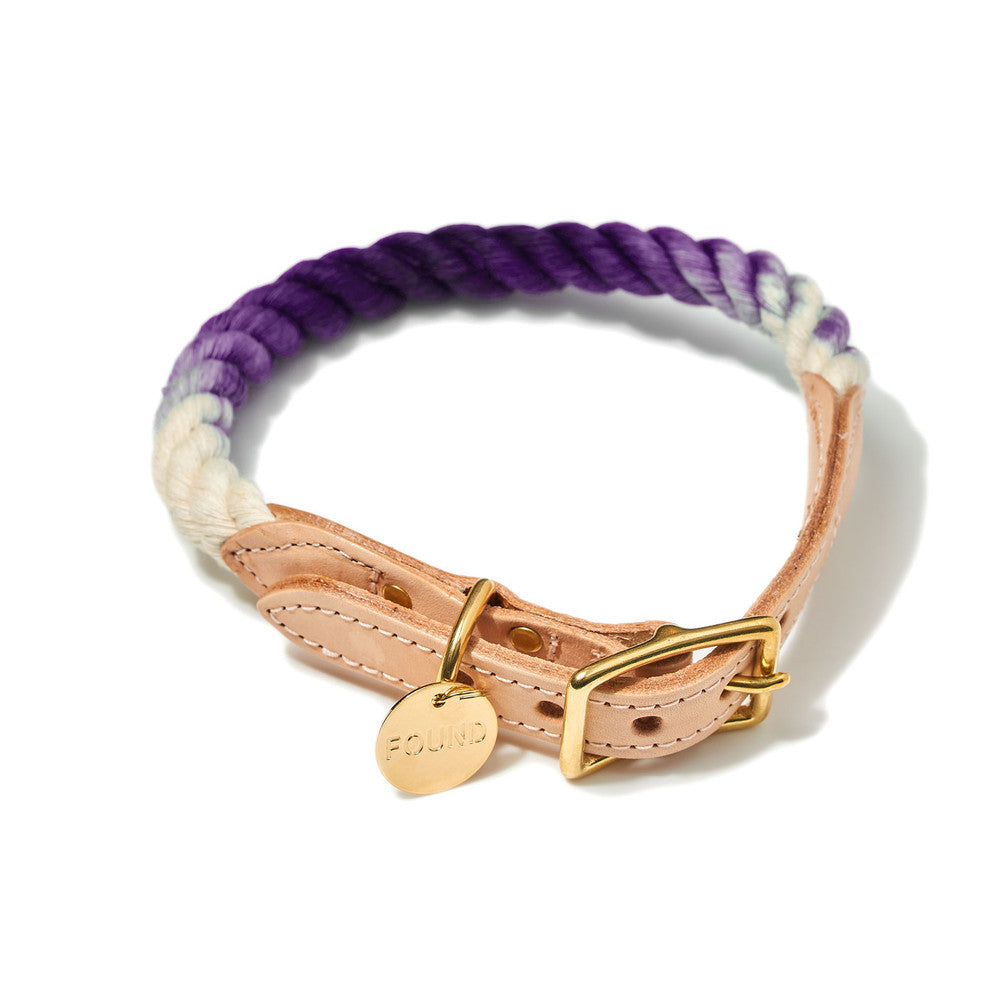Purple Ombre Cotton Rope & Leather Collar