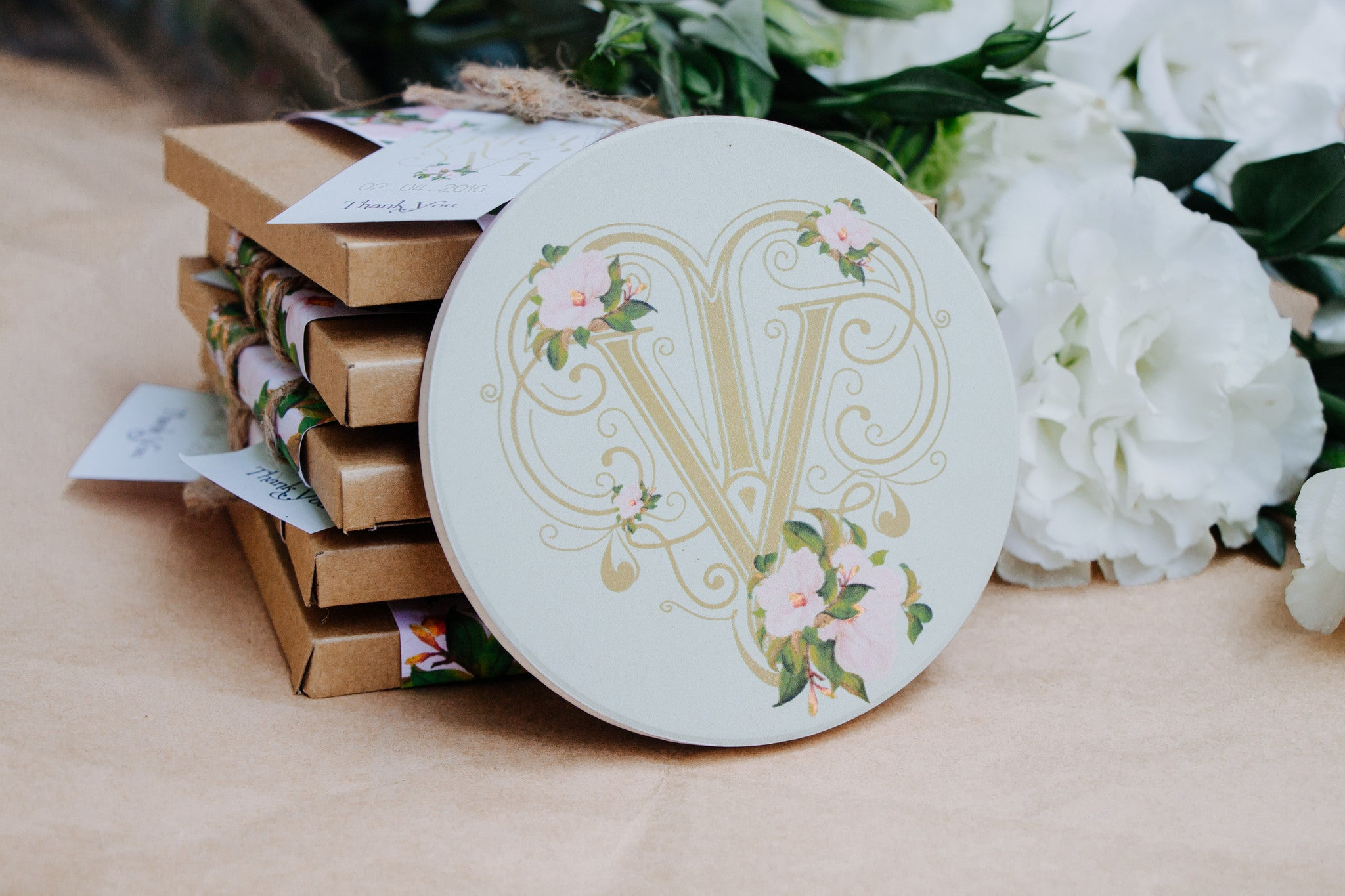 Customized Monogram Stone Coasters - Wedding Favor Coaster – 99Merci