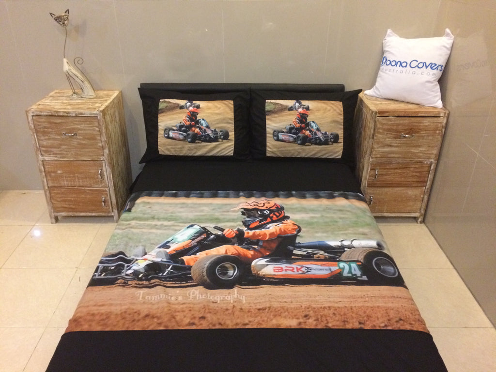 UK King size....225cm x 220cm.... with 2 printed pillows