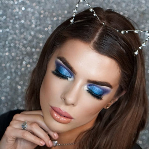 Blue Glitter Cut Crease Makeup Tutorial