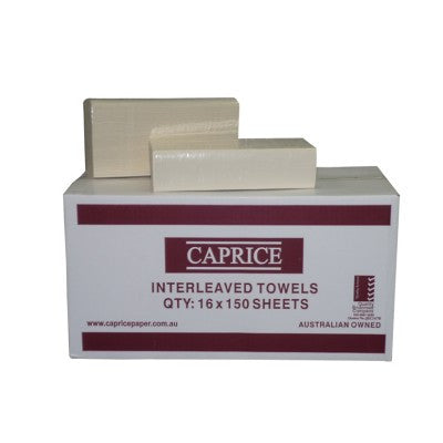 Caprice Interleaved Towel 24cm x 24cm | 150 Sheets x 16 Per Carton