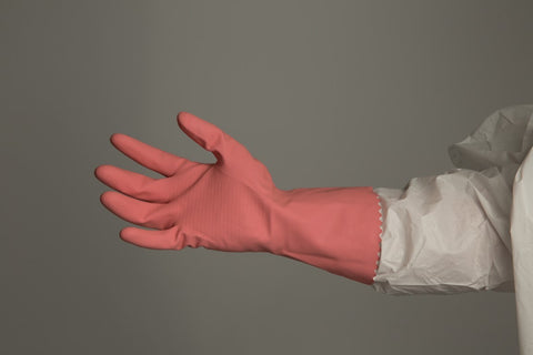Silverlined Rubber Gloves - Pink - Per Pair