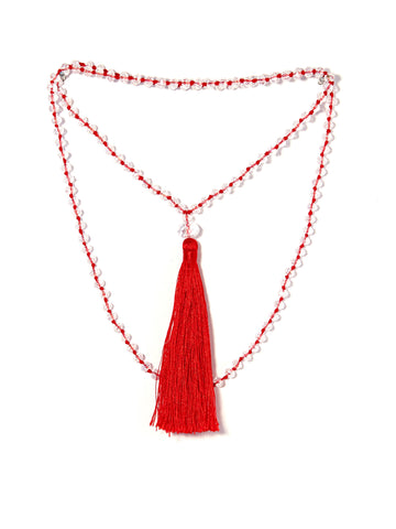 Tassel necklace - Crystal raspberry