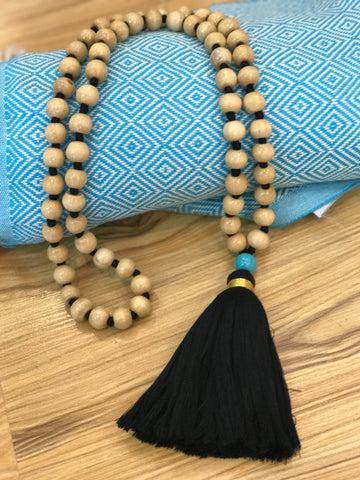 Wooden Beads and Black Tassel