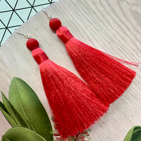 Tassel Earrings with Sterling Silver Hooks - Strawberry