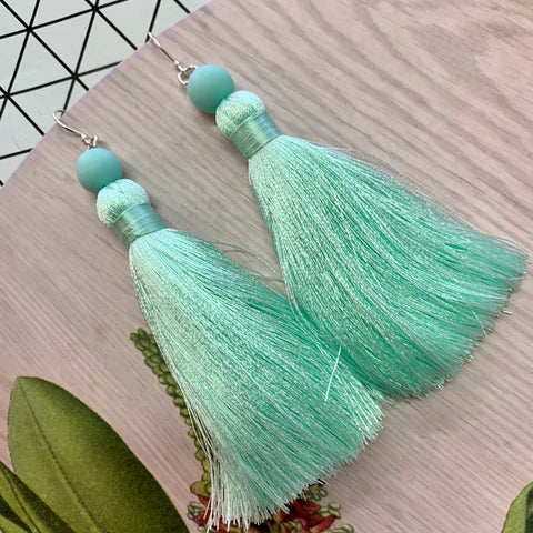 Tassel Earrings with Sterling Silver Hooks - Glacier