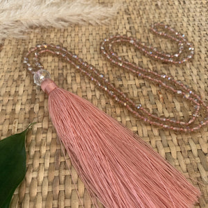 Crystal Tassel Necklace - Blush Pink