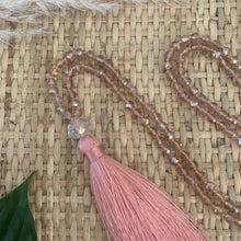 Load image into Gallery viewer, Crystal Tassel Necklace - Blush Pink