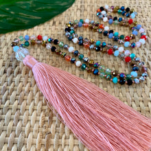 Load image into Gallery viewer, Crystal Tassel Necklace - Blush Multi