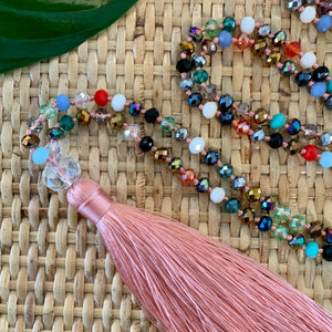 Crystal Tassel Necklace - Blush Multi