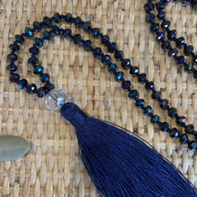 Load image into Gallery viewer, Crystal Tassel Necklace - Navy Galaxy