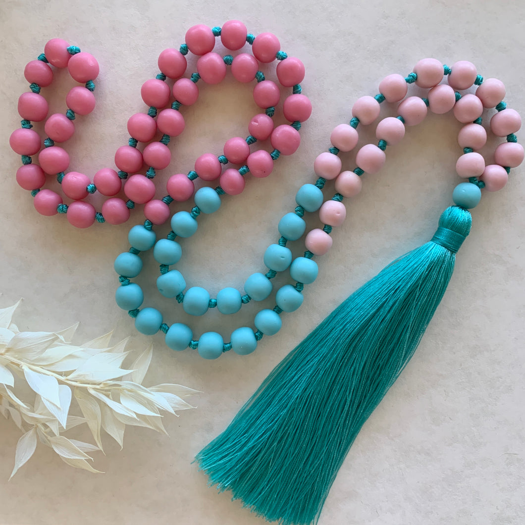 Sorbet Tassel Necklace- Turquoise Pink