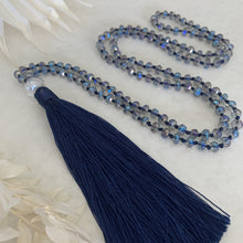 Load image into Gallery viewer, Crystal Tassel Necklace - Antarctic Navy