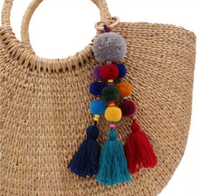 Load image into Gallery viewer, Pom Pom colourful  triple bag tassel