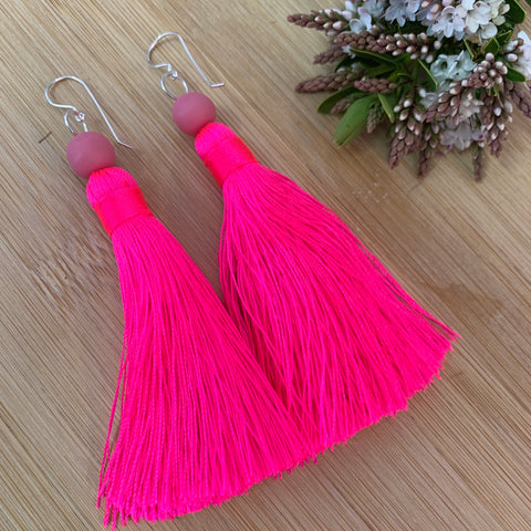 Hot Pink Tassel Earrings with Sterling Silver Hooks - Strawberry