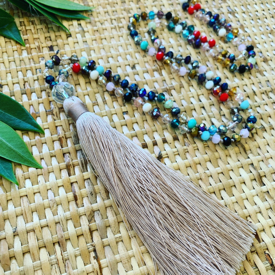 Crystal Tassel Necklace - Mocha Multi