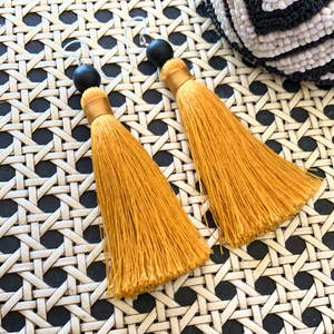 Tassel Earrings with Sterling Silver Hooks - Mustard