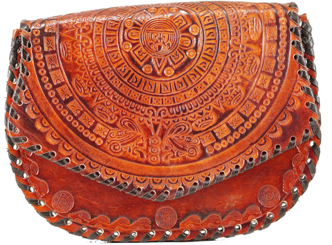 Mexican Mayan Calendar Carved Leather Bag
