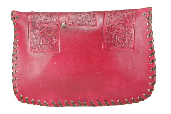 Burgundy Flower Carved Leather Bag