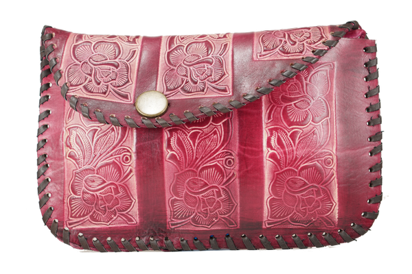 Red Violet Flower Carved Leather Bag