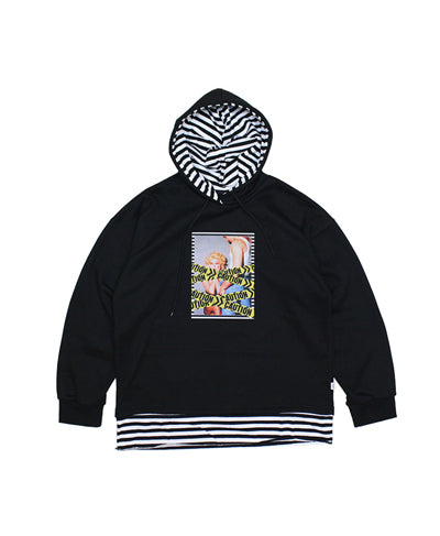 Caution With Striped Hoodie - Black