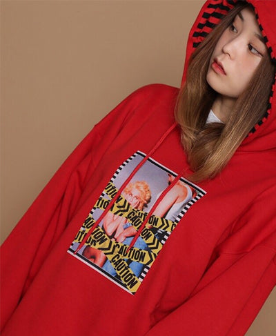 Caution With Striped Hoodie - Red