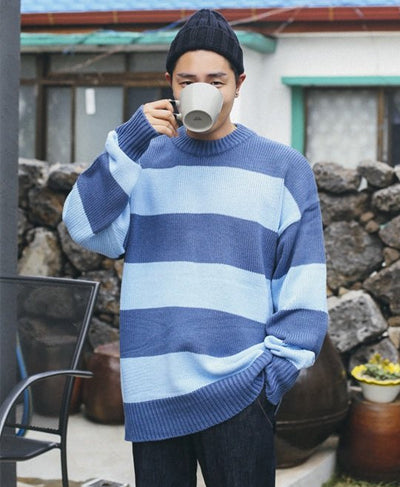 Big Oversized Striped Sweater - Blue