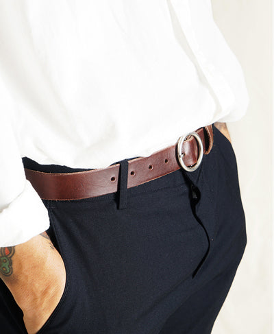 Mens Circle Ring Belt - Black, Dark Brown
