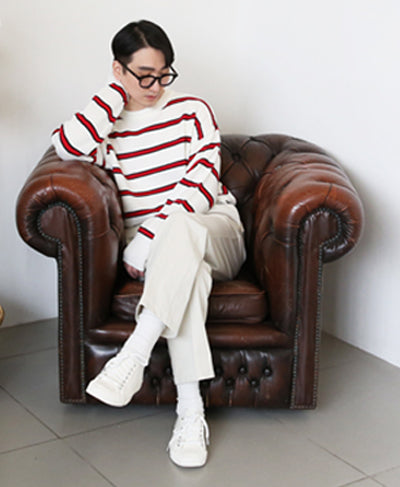 'New Year' Striped Knit Sweater - White
