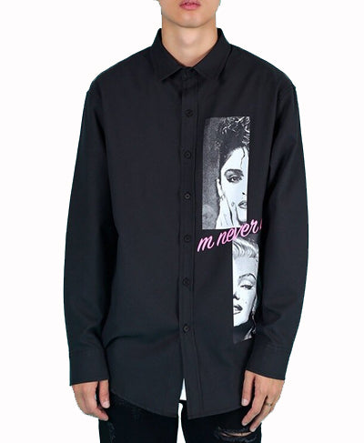 Monroe Printed Oversized Shirts - Black