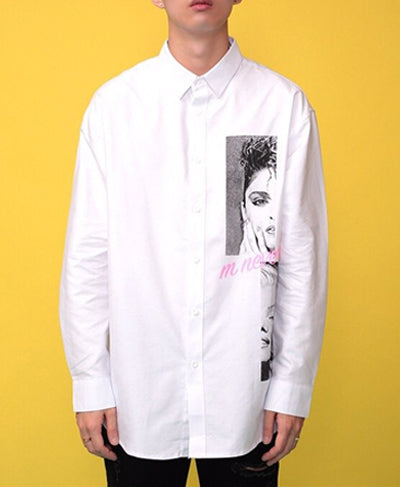 Monroe Printed Oversized Shirts - White
