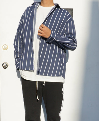 Oversize-fit Striped Pastel Shirts - Navy