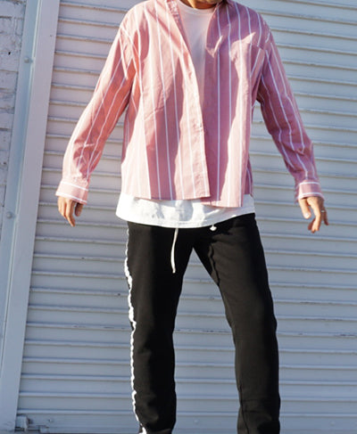 Oversize-fit Striped Pastel Shirts - Pink