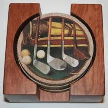 ThirstyStone Coasters in Hardwood Holders