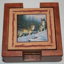 Two Wolves Coaster Set