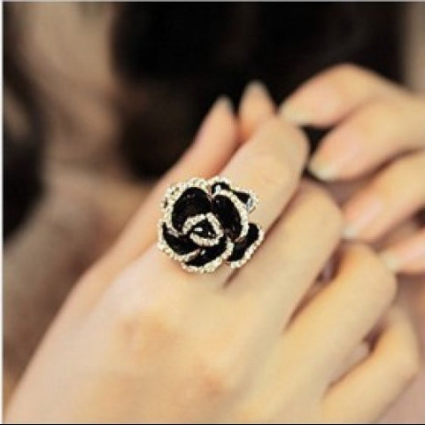 Fashion Black Rose Flower Rhinestone Rings