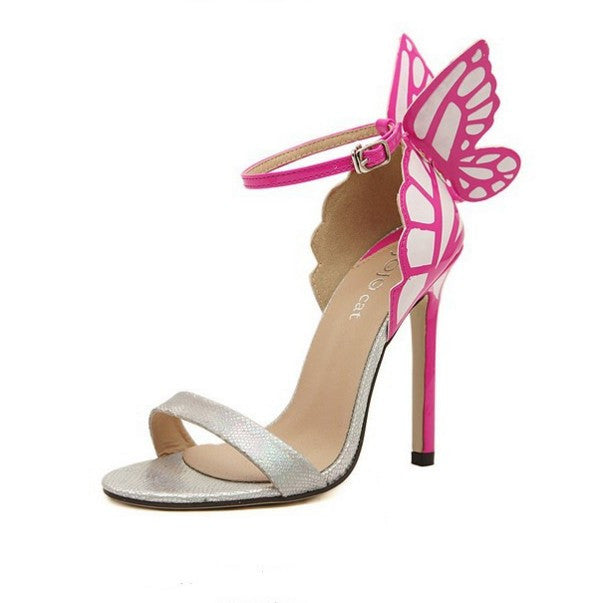 Colorful Butterfly Heeled Sandals