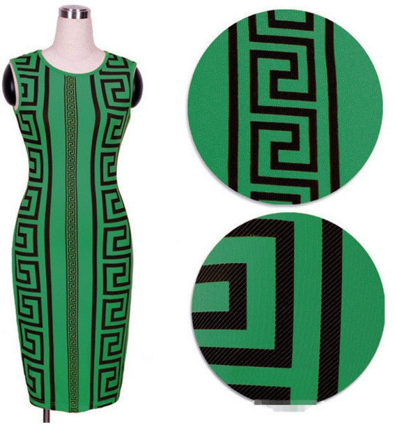 Geometric Print Elegant Bodycon Pencil Dress