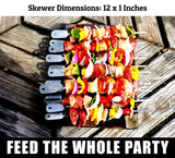 Barbecue Skewers Set - LIFETIME GUARANTEE - Stainless Steel Wide BBQ Kabob Sticks - 10 Inch Flat Metal Shish Kabab with Food Remover Disc for Grilling - Brazilian Kebab Rotisserie Maker by Cave Tools