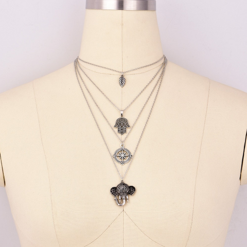 4-Layered Elephant Compass Necklace