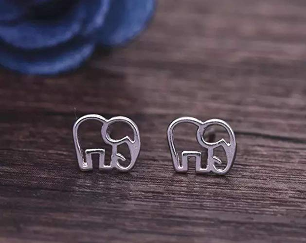 Tiny Elephant Stud Earrings Silver